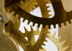 brass cogwheel macro